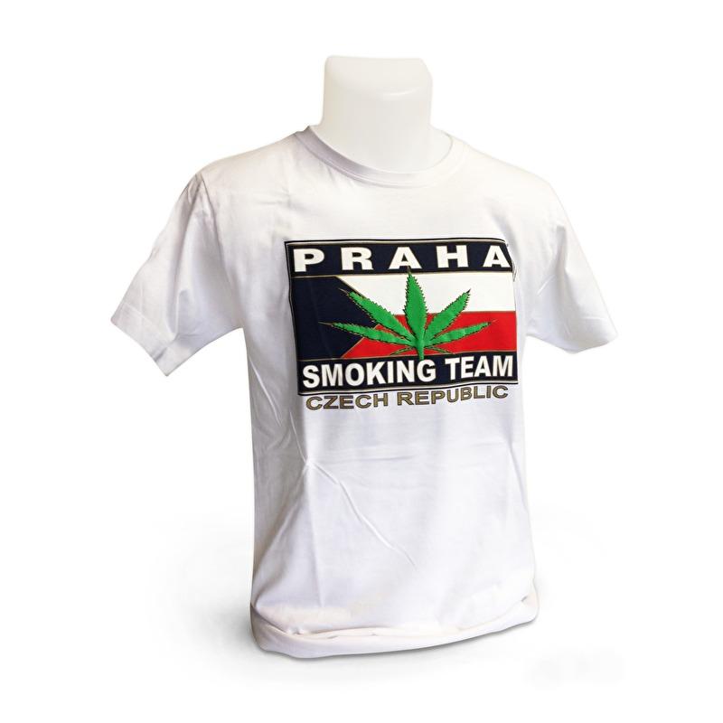 Sleva Tričko Praha Smouking team 50. - Bílá 58287a27de