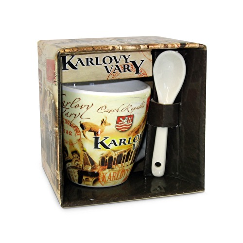 Mug Karlovy Vary with a spoon Retro