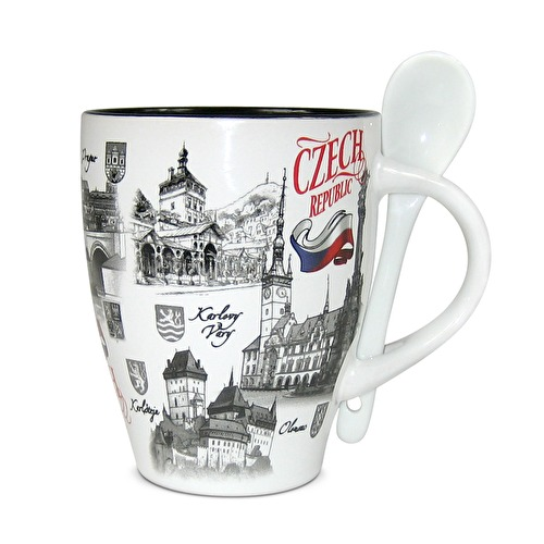 Large mug with  a spoon Czech Republic