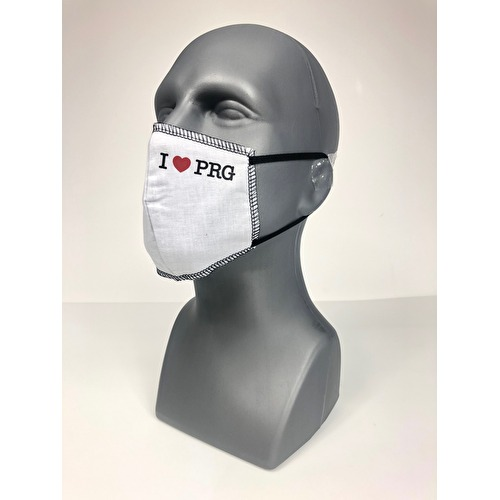 Cotton face mask I Love PRG white